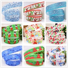 XW7106, 22mm Christmas Series Printed grosgrain ribbon, DIY handmade materials, headwear accessories, wedding gift wrap(China)