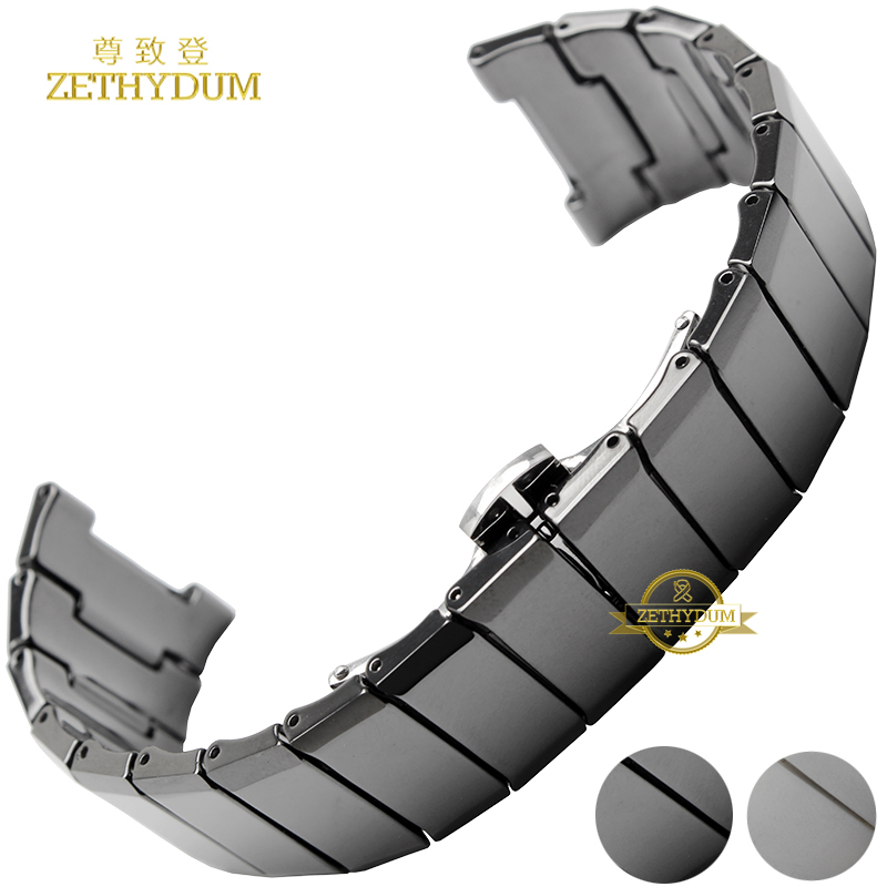Concave interface Ceramic bracelet watch strap watchband man women wristwatches band 25*14 20*12mm white black Butterfly buckle <br>