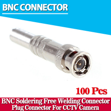 100pcs/lot BNC Male Connector for RG-59 Coaxical Cable, Brass End, Crimp, Cable Screwing, CCTV Camera BNC connector(China)