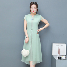 2017 Summer New Women Dress Chinese Style Improvement Slim Cheongsam Short Sleeve V-neck Cotton Dresses Fake Two Pieces