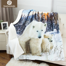 Naturelife Polar Bear Design 3D Printing Sherpa Double Layer Blanket Luxury Fleece Blanket Soft Warm Throw Textile Cobe(China)