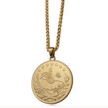 ZKD islam Arab Coin Gold Color Turkey Coins Pendant Necklace muslim Ottoman coins jewelry(China)