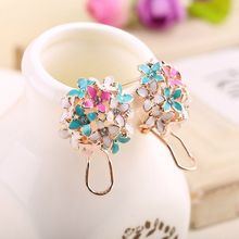 Buy Fashion Women Lady Elegant Clover Flower Crystal Stud Earring Stainless Steel Rhinestone Stud Earrings Women Girl Jewelry for $1.23 in AliExpress store