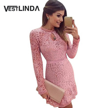 VESTLINDA Sexy Lace Dress Women Night Club Bodycon Party Dresses Autumn Keyhole Neck Long Sleeve Brazil Vestidos Pink Mini Dress