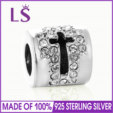 LS 925 Sterling Silver Faith Cross Bead With Clear Crystal Charms Fit Bracelet & Pendants Jewelry Making for Lover