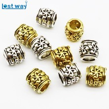 Wholesale 20pcs/lot Metal Europe Pirate Beads Tibetan Silver Big Hole 6mm Spacer Beads for Bracelet Jewelry Making(China)