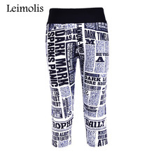 Leimolis 3D print newspaper fitness push up high waist capris leggings women plus size adventure time punk rock pants