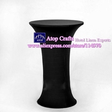 10pcs 60*110cm Black Round Based Spandex Table cover Cocktail Table Cloths Lycra Stretch High Bar Table Covers For Wedding Event(China)
