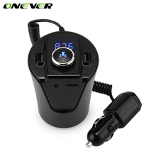 Bluetooth Car Kit FM Transmitter MP3 Player With LED Dual USB 4.2A Quick Charger Voltage Display Micro SD TF Music Playing(China)
