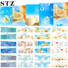 STZ 12 Designs Nail Art Water Transfer Decals Summer Sea Beach Styling Cartoon Design Adhesive Glue Manicure Sticker BN157-168