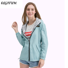2017 Spring Fashion Jacket Women Bomber Women Two side wear Pocket Zipper hooded Jacket Cartoon printing Loose Outwear Plus Size