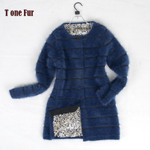 New Arrival Free Shipping Genuine Mink Sweater Women Long Knit Real Natural Mink Fur Cashmere Jacket Waistcoat TP192