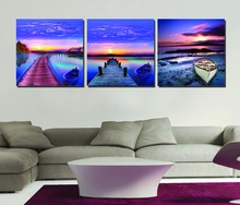 3 Panel Modern Painting Bridge under Sunset Picture Cuadros Landscape Blue Painting Canvas Art Wall Painting For Living Room