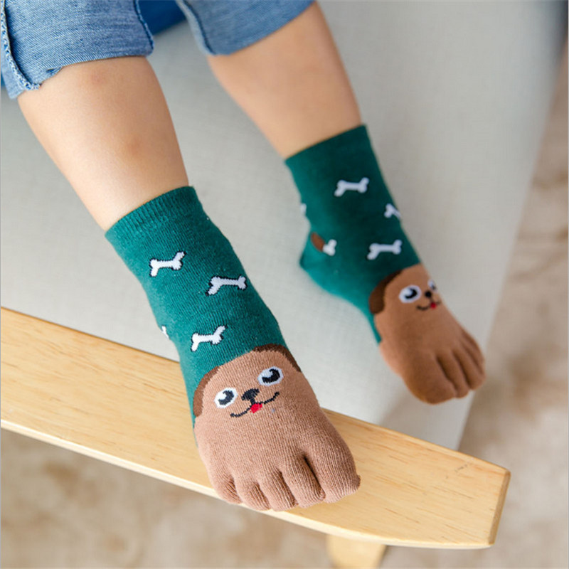 Kids Five Finger Toe Socks Soft Cotton Boys/&Girls Daily Ankle Socks 7-12 Years