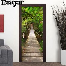 3D Door Wall Sticker Forest Bridge Self Adhesive Wallpaper PVC Removable Decals Home Living Room Decorative Accessories(China)