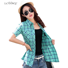 2017 Fashion Women's Cotton Plaid Short Sleeve Plus Size Women Blouse Shirt Casual Cotton Tops Girl Summer Clothing Shirts(China)