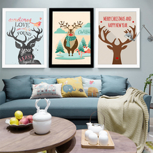 Cartoon Art Deer Print Poster Wall Pictures For Living Room Canvas Painting With Cardboard Frame Christmas Decorations