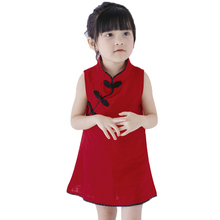 Summer Baby Girl Clothes Chinese Style Classic Clothes Sleeveless Dress Baby Girls Cheongsam Dresses Vintage Floral Girl's Dress