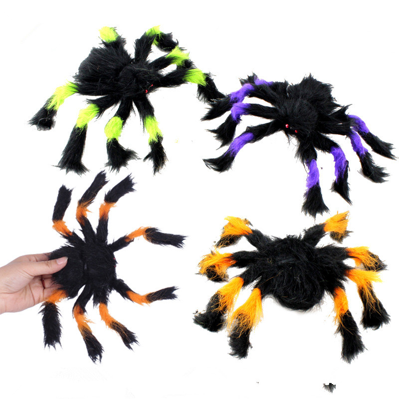 halloween decoration horror black spider haunted house spider web bar party decoration supplies simulation plush tricky toy  (8)
