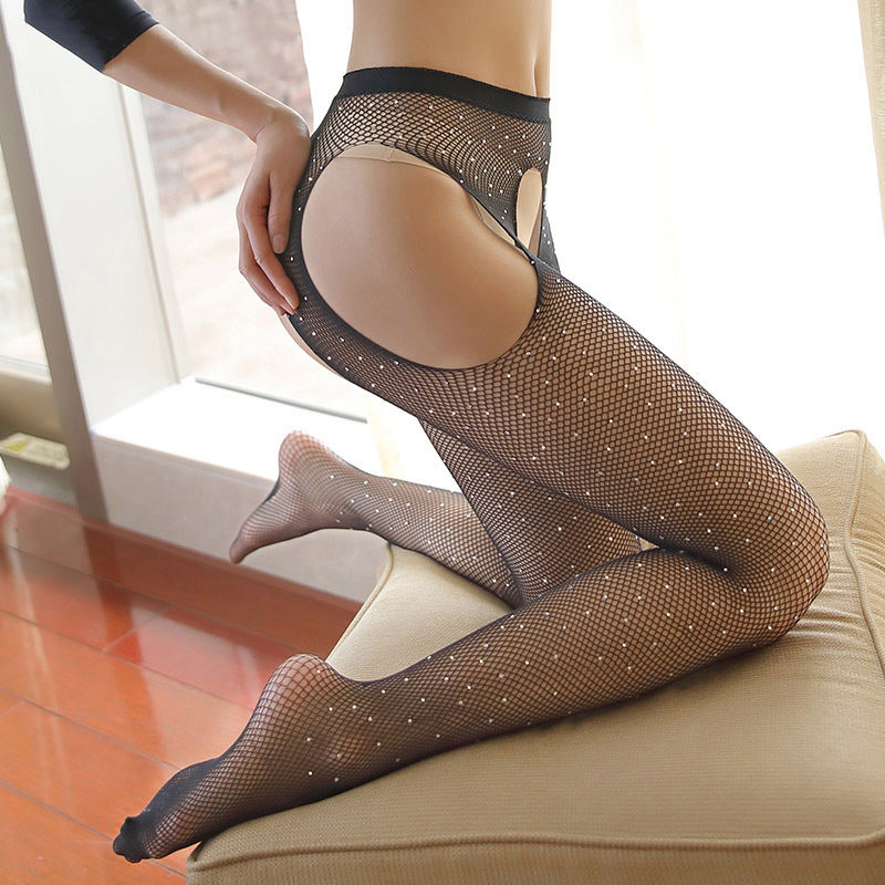 Sexy Open Crotch Fishnet Tights Womens Diamond Mesh Stockings Lady Shiny Crystal Rhinestone Nylons Pantyhose Collant Hosiery