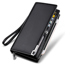 WILLIAMPOLO 2017 Fashion Long Design Genuine Cow Leather Wallet Man Metal Corner Phone Wallet Luxury Wallet Black #129