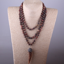 MOODPC Fashion Bohemian Tribal Artisan Jewelry Knotted long Halsband Leopard Skin Ox Horn Necklace