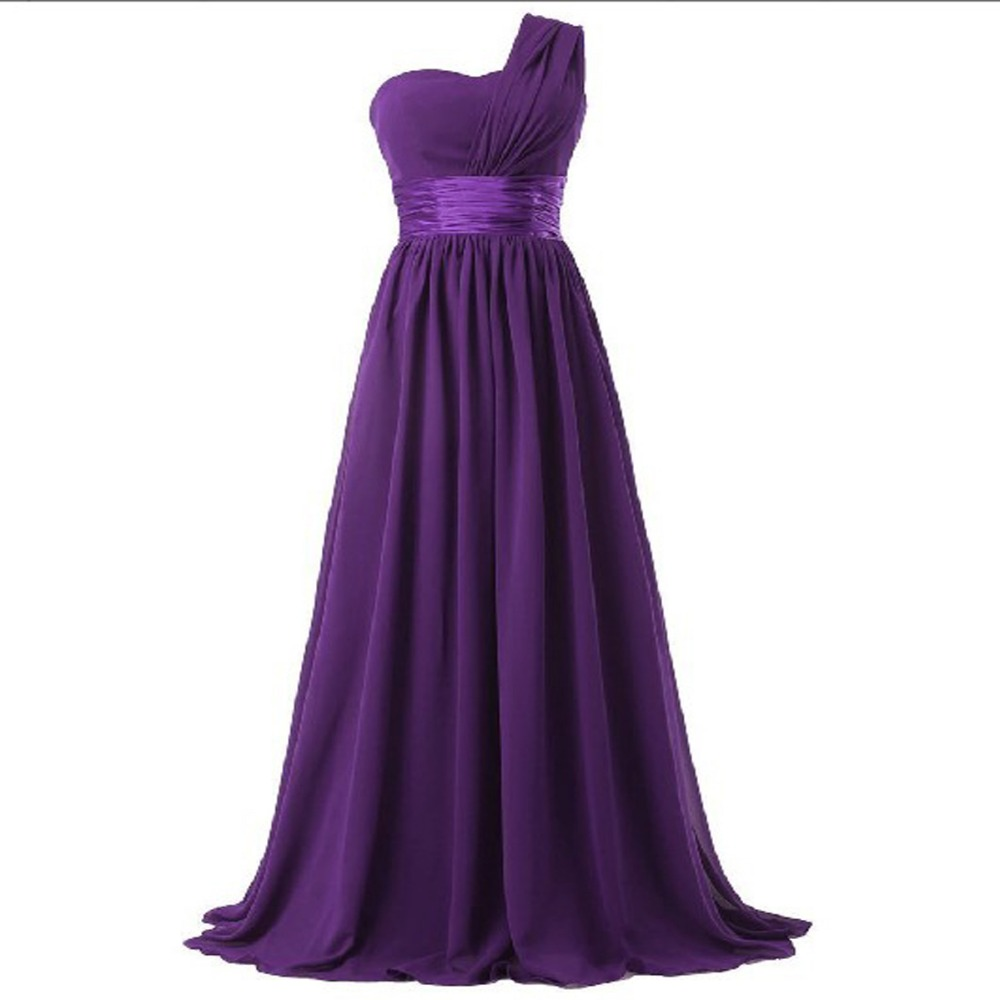 2017 long bridesmaid dress one shoulder a line chiffon for women elegant fashion style purple blue mint green pink red yellow 7