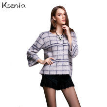 Ksenia 2017 brand fashion sweaters pullover flat knitted sweater woman plaid coat loose elegant fitted sweater sueter mujer