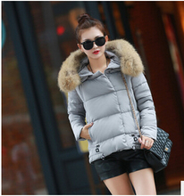 free Shipping 2015 new winter coat lady feather padded jacket large thick fur collar jacket female(China)