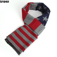 ZFQHJJ 2017 New Arrival Fashion Star Striped Winter Scarf Cashmere Wool Gray Scarves For men male Wraps Shawl with black tassels(China)