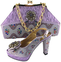 New Arrival Lilac Color High Quality Matching Italian Shoes and Bag Set Decorated with Rhinestone Nigerian Party  7701