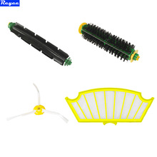 4 Pc/lot 3 Arms Sidebrush + filter kit replacement for Irobot Roomba 500 527 528 530 532 535 540 555 560 562 570 572 580 581 590(China)