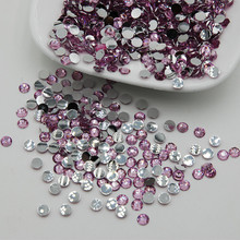 Hot Sale Light Pink Color Acrylic 3D Nail Art Rhinestones Flatback Glue On Non Hotfix Stones For Christmas Cell Phone Gems(China)