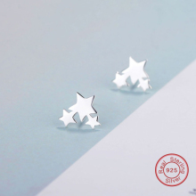 Real Pure 925 Sterling Silver Earrings, Three Stars Trendy Jewelry Cute Star Earrings Geometric Earrings Wholesale Price WES177