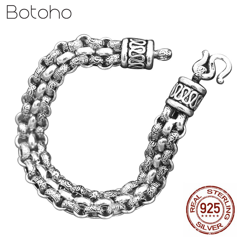 100% 925 Sterling Silver Baifu Bracelet for Men Vintage Creative Chain Link Personality Man Bracelet Thai silver Fashion Jewelry