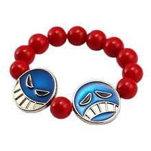 ONE PIECE Bracelet Ace Red Bead Bracelet Men Anime Charm Bracelets & Bangles Cosplay Jewelry Women pulseira masculina chaveiro