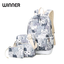 Waterproof Set Backpacks School Bag for Teenage Girls Packbag Cut Cat Printing Bagpack Laptop Canvas Animal Backpack Women(China)