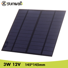 SUNWALK Solar Panel 12V 3W EVA-PET Solar Panel Mini Solar Cell Polycrystalline Silicon Solar DIY Module 145*145mm(China)