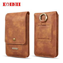 EOINII for iphone x 7 8 DG.MING Universal Phone Bag Genuine Leather Carry Belt Clip Pouch Waist Purse Case Cover for SmartPhone(China)