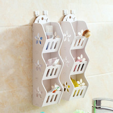 DIY 3 layers white wood-plastic hollow wall plate racks debris cosmetic organizer desk storage for home Bathroom decoration