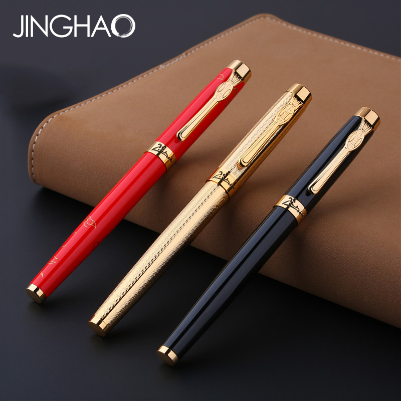 1PC Golden Clip Rollerball Pen Pimio 933 Luxury Red Black Gold Metal Sign Pen Business Gift Stationery Office Supplies with Box<br>