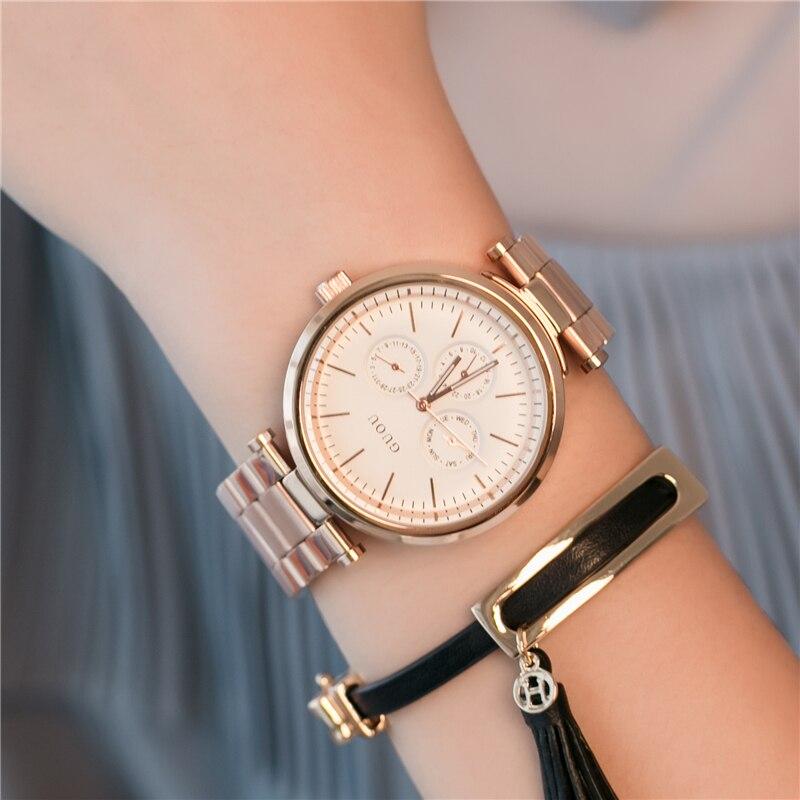 GUOU relogio feminino Ladies Quartz Watches Top Brand Luxury Rose Gold Women Bracelet Watch Waterproof Women Dress Clock Black<br>