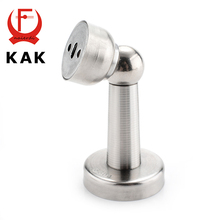 KAK Thicknessed Stainless Steel Magnetic Sliver Door Stop Stopper Holder Catch Floor Fitting With Screw For Family Home Hardware
