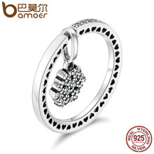 BAMOER Trendy 100% 925 Sterling Silver Sparking Snowflake Finger Rings for Women Wedding Engagement Jewelry Gift SCR129(China)