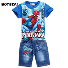 Retail spiderman kids clothing sets,fashion cartoon children summer shirt jeans shorts set, toddler boys clothing