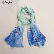 Sunfree 2016 Fashion Hot Sale Chiffon Soft Neck Scarf Shawl Scarves Stole Wraps Great Gift New Design High Quality Oct 1(China)