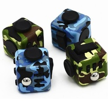 2017 New Fidget Cube Anxiety Stress Relief Focus Toys Gift Camouflage Blue Army green Vinyl Fidget Magic Cubes Desk Spin Toys