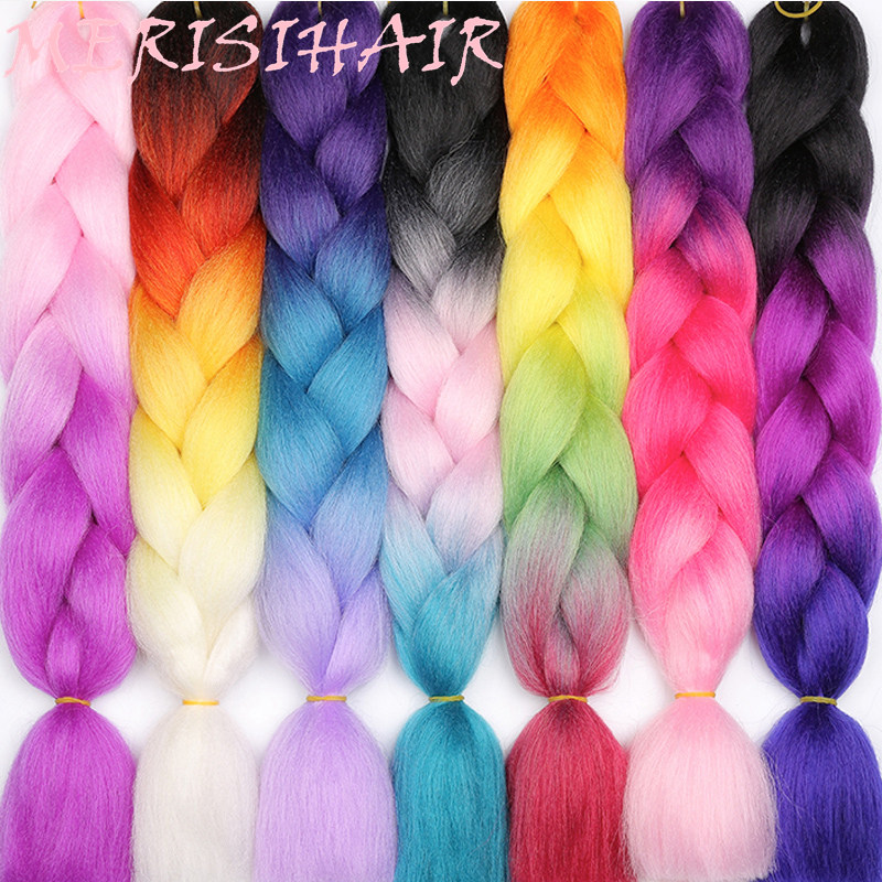 MERISIHAIR Hair-Extensions Hairstyles Jumbo Braids Crochet-In Synthetic Ombre 24inch title=