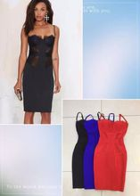 High Quality Lace Black Red Black Hollow Out Knee Length Rayon Bandage Dress Cocktail Party Dress