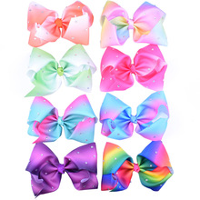 "Buy 1pcs Plain Rhinestone Bows Clips Large Grosgrain Ribbon 8"" Hair Bows Boutique Rainbow Little Girls Hair Accessories for $2.14 in AliExpress store"